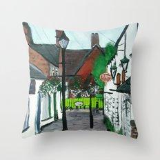 Little Church Lane Cafes, Tamworth, Staffordshire, England, Acrylics On Canvas Throw Pillow