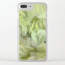 Soft Green Petal Ruffles Abstract Clear iPhone Case