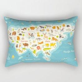The most detailed animals world map, Eurasia. Also, birds, ocean life, reptiles, and mammals. Beauti Rectangular Pillow
