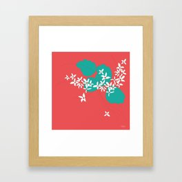 Minimalistic White Flowers On A Red Framed Art Print