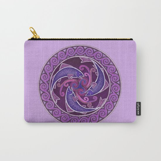 Purple Fish Spiral Celtic Mandala Carry-All Pouch
