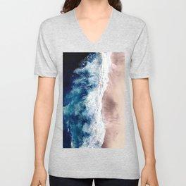 Ocean Wave on Sandy Beach Unisex V-Neck