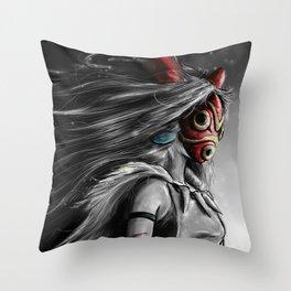 Miyazaki's Mononoke Hime Digital Painting the Wolf Princess Warrior Color Variation Throw Pillow