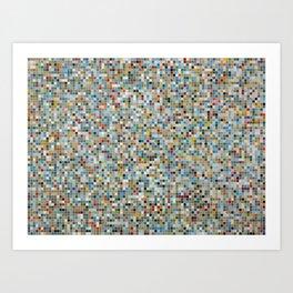 Square Mosaic Multi-coloured Tile Pattern (Vector Illustration) Art Print