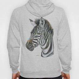 Zebra Watercolor Painting - African Animal Painting Wildlife Head Bust Hoody