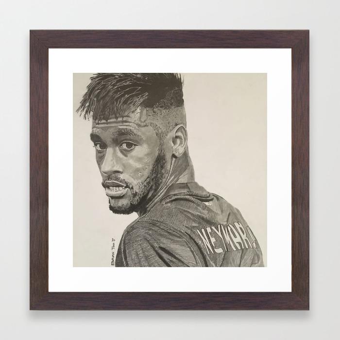Neymar jr graphite pencil drawing framed art print by btcraftske society6