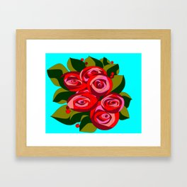 A Bouquet of Big Flowers with a Sky Blue Background Framed Art Print