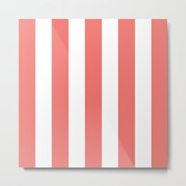 White and Coral Stripes Metal Print