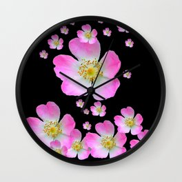 BLACK MONTAGE WILD PINK ROSES Wall Clock