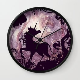 Unicorn in magical forest Wall Clock