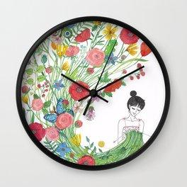knitting flowers Wall Clock