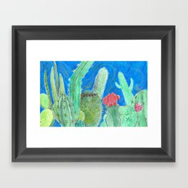 Cactus relationships Framed Art Print