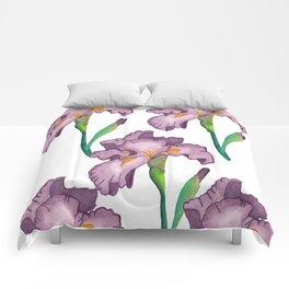 Purple Iris Comforters