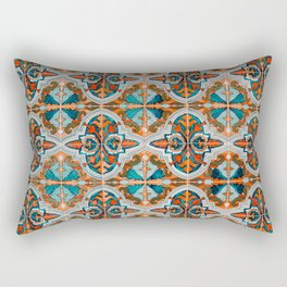 Seamless Floral Pattern Ornamental Tile Design  3 - Red Rectangular Pillow