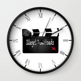 Illegal Downloads Clapperboard Wall Clock