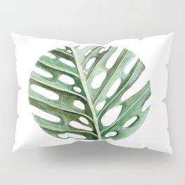 Circular Monstera Leaf Painting Pillow Sham