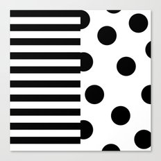 Black and white Dotted pattern and bars Canvas Print