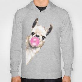 Bubble Gum Sneaky Llama in Blue Hoody