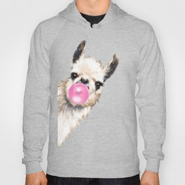 Bubble Gum Sneaky Llama in Blue Hoody