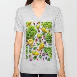 Fruits and vegetables pattern (1) Unisex V-Neck