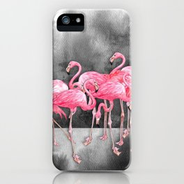 Flamingo Collage in Watercolor and Ink iPhone Case