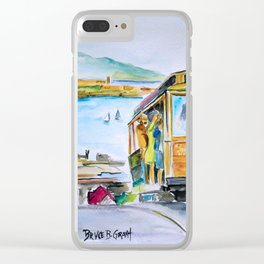 San Francisco Cable Car watercolor Clear iPhone Case
