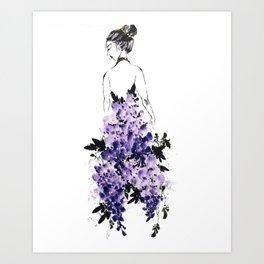 Wisteria dress Art Print