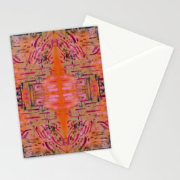 Strengthening Orange Geometric Pattern Watercolor Tapestry Stationery Cards