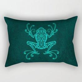 Intricate Teal Blue Tree Frog Rectangular Pillow