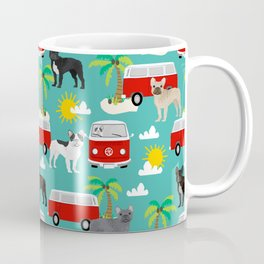 French Bulldogs beach mini van surfing pet friendly dog breed pattern palm trees Coffee Mug