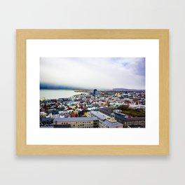 Rainbow Roofs and Buildings of Reykjavik Iceland Framed Art Print