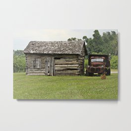 Old truck and cabin Metal Print