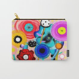 Yellow Polka Dots Floral Bouquet Carry-All Pouch