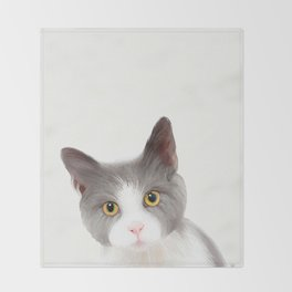 Cat with Yellow Eyes Throw Blanket