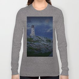 Lighthouse at Peggy's Cove in the Moonlight Long Sleeve T-shirt