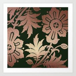 Black and Rose Gold  Floral Art Print