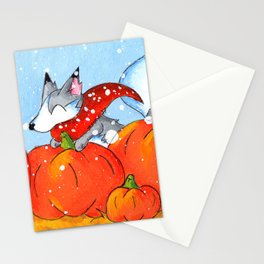 Wolf in the Pumpkin Patch Stationery Cards