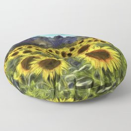 Sunflower Fields Of Summer Van Goth Floor Pillow