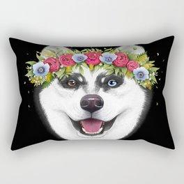 Husky with flowers on black Rectangular Pillow