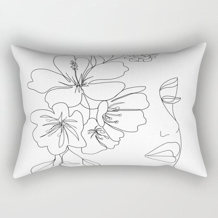 Minimal Line Art Woman Face II Rectangular Pillow
