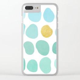 Aqua Pebbles & gold Clear iPhone Case