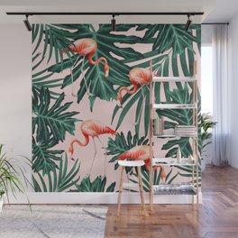 Summer Flamingo Jungle Vibes #1 #tropical #decor #art #society6 Wall Mural