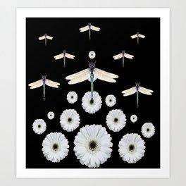 SURREAL WHITE DRAGONFLIES FLOWERS BLACK COLOR PATTERNS Art Print