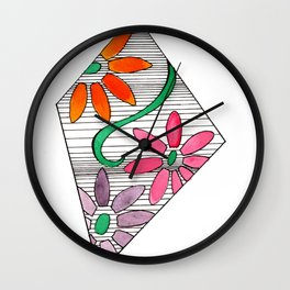 color geo floral Wall Clock
