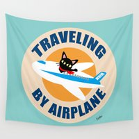 airplane Wall Tapestries featuring Airplane by BATKEI
