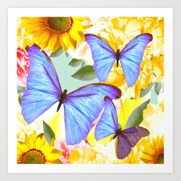 Bright Blue Butterflies Yellow Flowers #decor #society6 #buyart Art Print