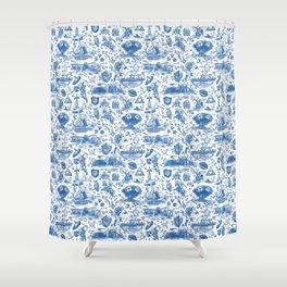 "Zelda ""Hero of Time"" Toile Pattern - Zora's Sapphire Shower Curtain"
