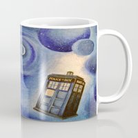 tardis Mugs featuring TARDIS by Colunga-Art