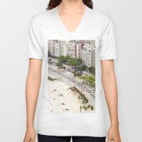 rio de janeiro V-neck T-shirts featuring Copacabana Beach. Rio de Janeiro. by Jeremiah Wilson
