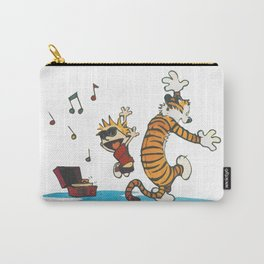 Hobbes Dancing with Vinyl Phonograph, Cute Artwork, Tshirts, Art Posters, Prints, Bags, Men, Women, Carry-All Pouch